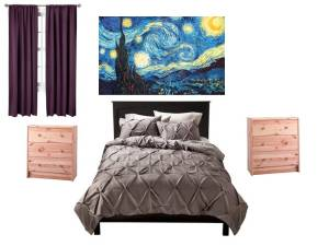 I like these pieces. My Starry Night painting over the bed... love these curtains... and love the bed spread... but I would paint the night stands.